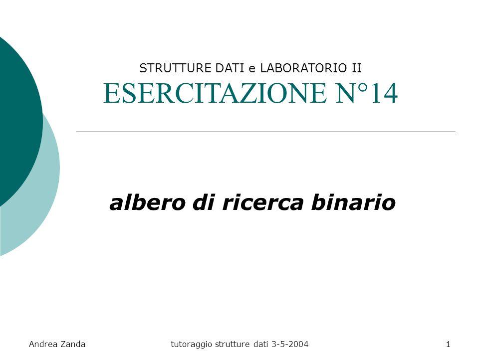 Andrea Zandatutoraggio strutture dati 3-5-20041 STRUTTURE DATI e LABORATORIO II ESERCITAZIONE N°14 albero di ricerca binario