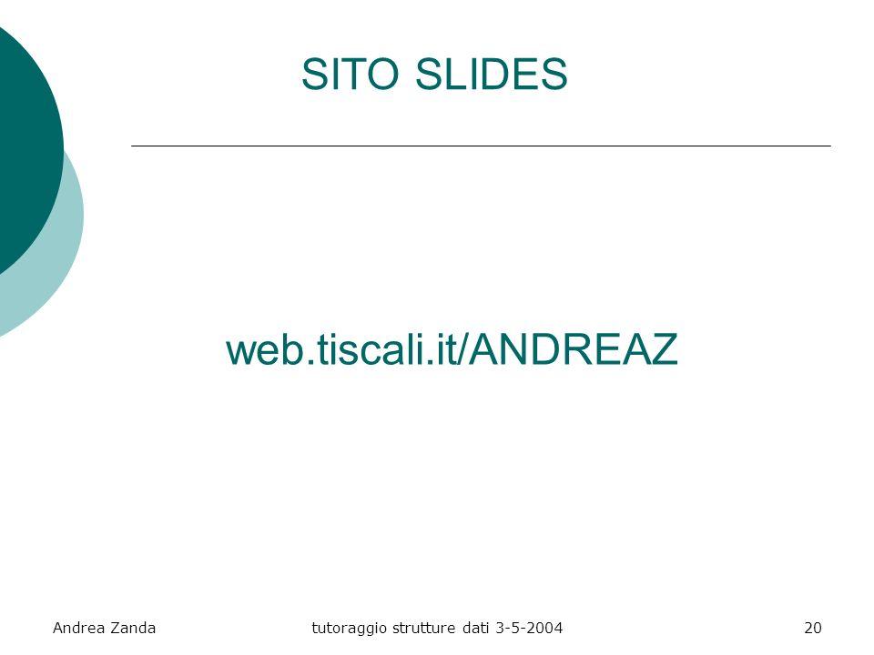 Andrea Zandatutoraggio strutture dati 3-5-200420 SITO SLIDES web.tiscali.it/ANDREAZ