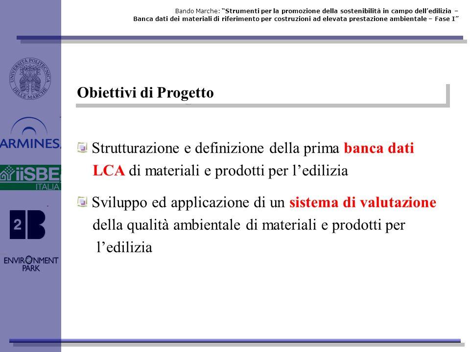 Obiettivi di Progetto Strutturazione e definizione della prima banca dati LCA di materiali e prodotti per ledilizia Sviluppo ed applicazione di un sis