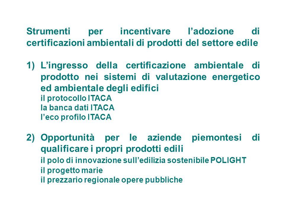 Strumenti per incentivare ladozione di certificazioni ambientali di prodotti del settore edile 1)Lingresso della certificazione ambientale di prodotto