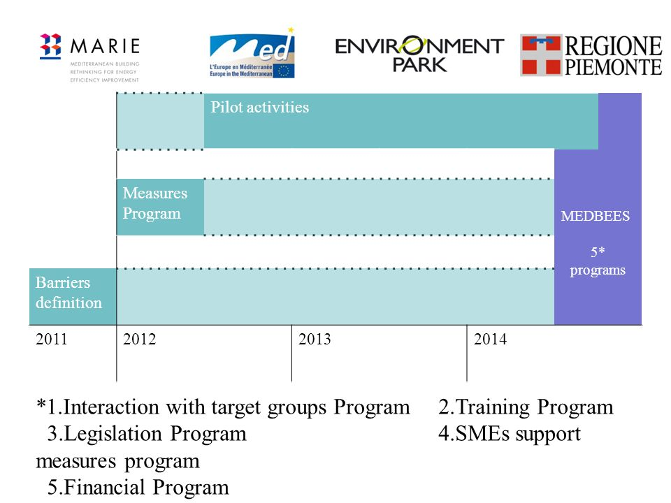 Pilot activities MEDBEES 5* programs Measures Program Barriers definition 2011201220132014 *1.Interaction with target groups Program2.Training Program