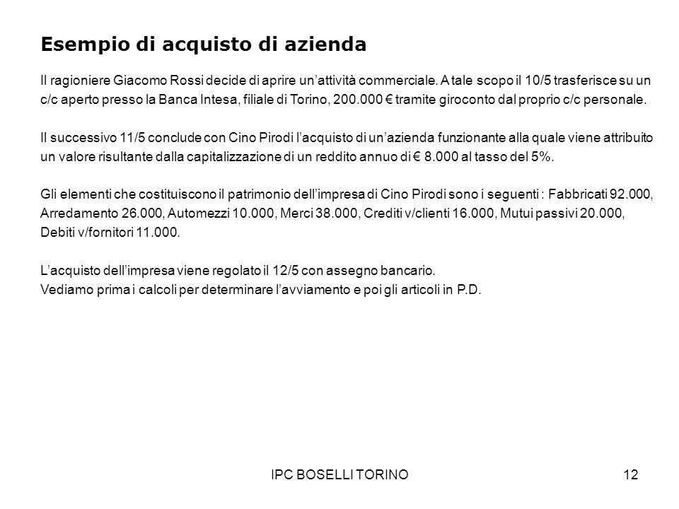 IPC BOSELLI TORINO12 Esempio di acquisto di azienda Il ragioniere Giacomo Rossi decide di aprire unattività commerciale. A tale scopo il 10/5 trasferi