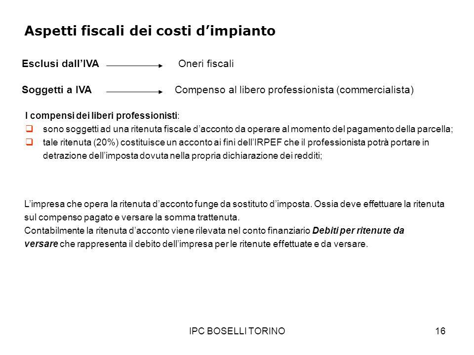 IPC BOSELLI TORINO16 Aspetti fiscali dei costi dimpianto Soggetti a IVACompenso al libero professionista (commercialista) Esclusi dallIVAOneri fiscali
