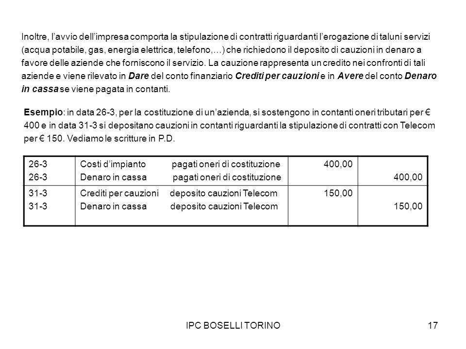 IPC BOSELLI TORINO17 Inoltre, lavvio dellimpresa comporta la stipulazione di contratti riguardanti lerogazione di taluni servizi (acqua potabile, gas,
