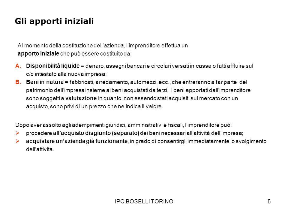 IPC BOSELLI TORINO5 Gli apporti iniziali Al momento della costituzione dellazienda, limprenditore effettua un apporto iniziale che può essere costitui