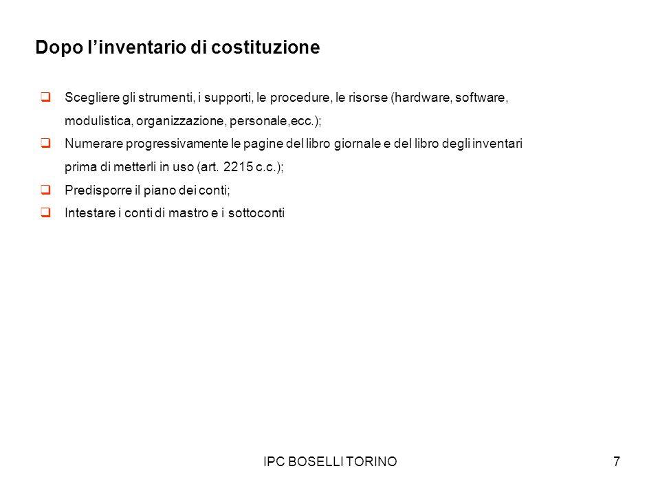IPC BOSELLI TORINO8 Gli apporti di disponibilità liquide Si costituisce in data 5 maggio limpresa individuale di Giacomo Rossi con apporto di denaro contante per 25.000.