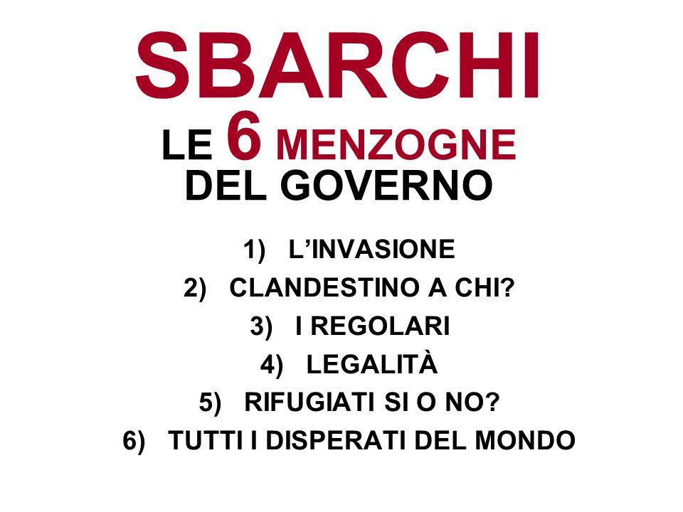 SBARCHI LE 6 MENZOGNE DEL GOVERNO 1)LINVASIONE 2)CLANDESTINO A CHI? 3)I REGOLARI 4)LEGALITÀ 5)RIFUGIATI SI O NO? 6)TUTTI I DISPERATI DEL MONDO