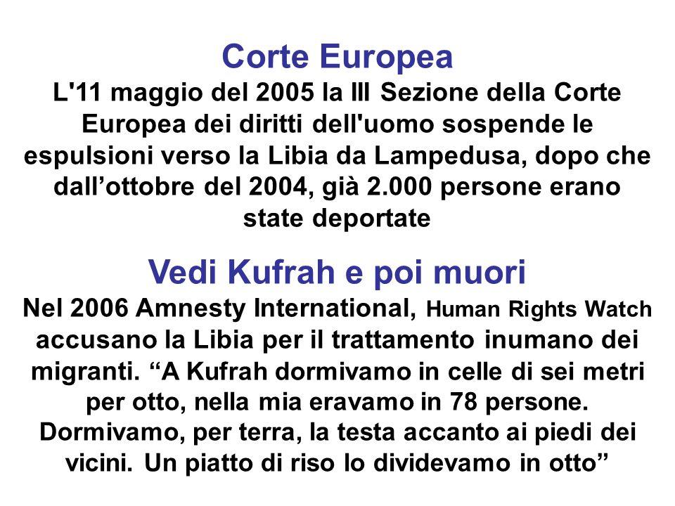 Corte Europea L'11 maggio del 2005 la III Sezione della Corte Europea dei diritti dell'uomo sospende le espulsioni verso la Libia da Lampedusa, dopo c