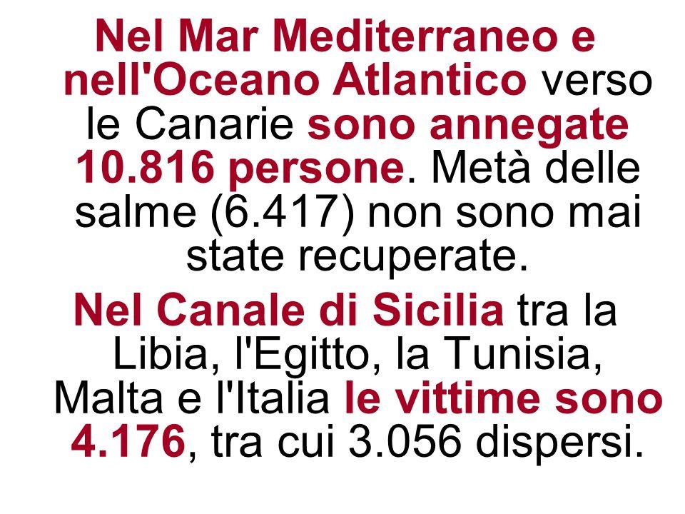 Nel Mar Mediterraneo e nell'Oceano Atlantico verso le Canarie sono annegate 10.816 persone. Metà delle salme (6.417) non sono mai state recuperate. Ne