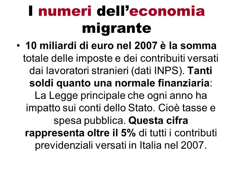 I numeri delleconomia migrante 10 miliardi di euro nel 2007 è la somma totale delle imposte e dei contribuiti versati dai lavoratori stranieri (dati I