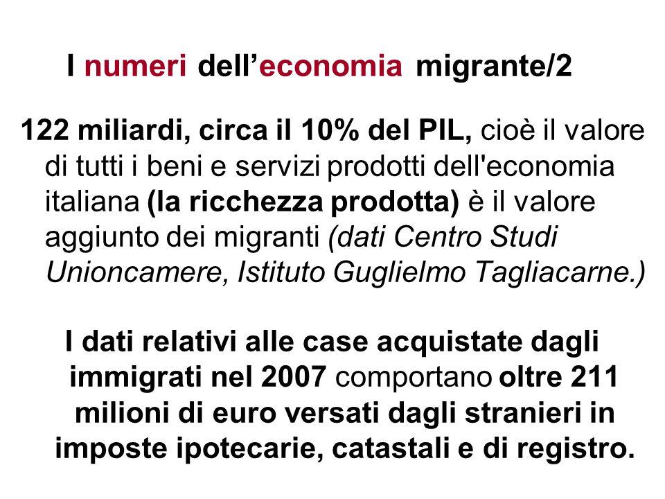 I numeri delleconomia migrante/2 122 miliardi, circa il 10% del PIL, cioè il valore di tutti i beni e servizi prodotti dell'economia italiana (la ricc