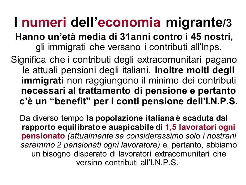 I numeri delleconomia migrante /3 Hanno unetà media di 31anni contro i 45 nostri, gli immigrati che versano i contributi allInps. Significa che i cont