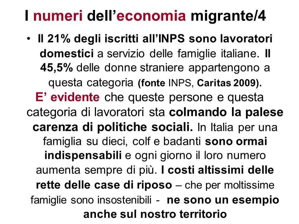 I numeri delleconomia migrante/4 Il 21% degli iscritti allINPS sono lavoratori domestici a servizio delle famiglie italiane. Il 45,5% delle donne stra
