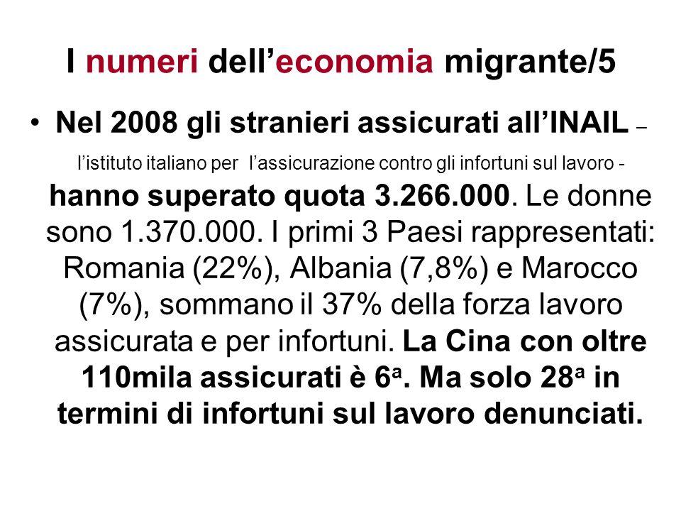 I numeri delleconomia migrante/5 Nel 2008 gli stranieri assicurati allINAIL – listituto italiano per lassicurazione contro gli infortuni sul lavoro -