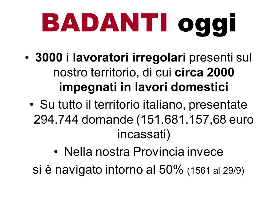 3000 i lavoratori irregolari presenti sul nostro territorio, di cui circa 2000 impegnati in lavori domestici Su tutto il territorio italiano, presenta