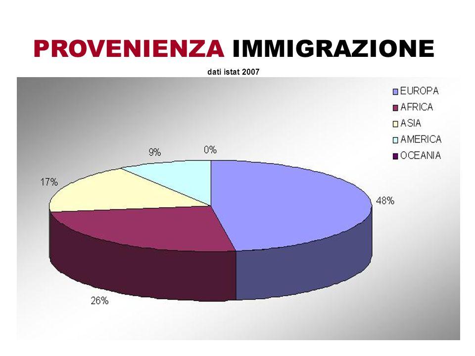 PROVENIENZA IMMIGRAZIONE dati istat 2007