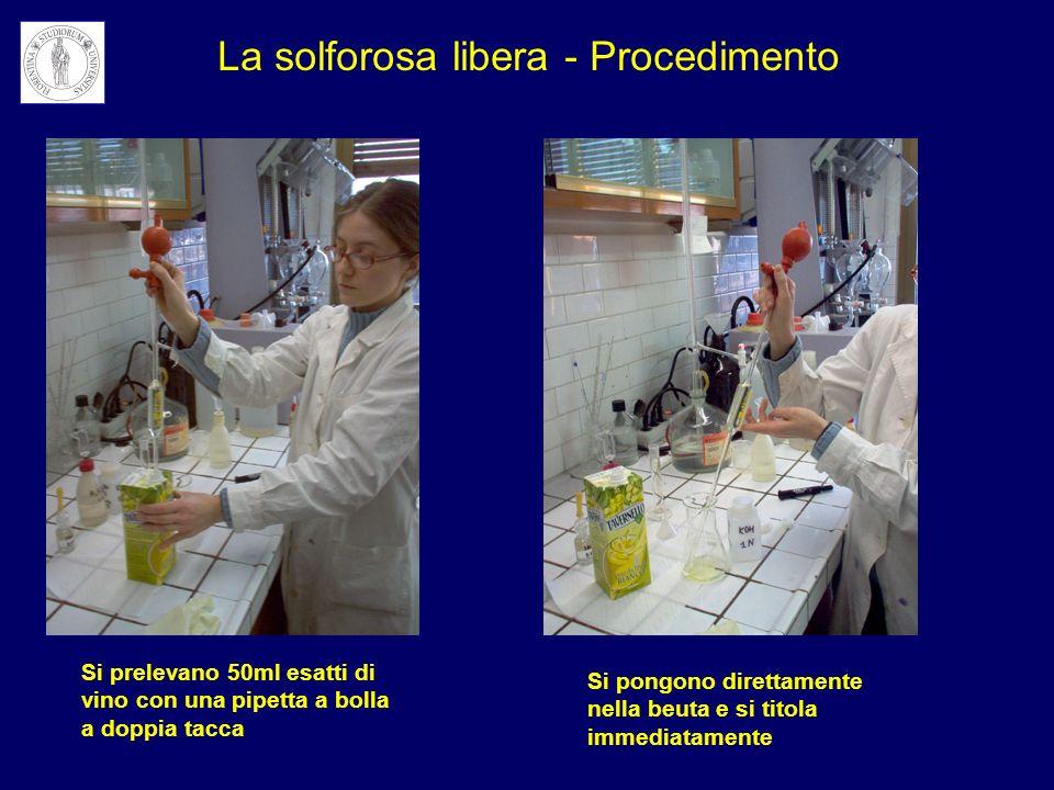 Si aggiungono 2 mL di salda damidoSi aggiungono 10 mL di H 2 SO 4 Titolazione della solforosa libera e totale: le aggiunte da effettuare sono le stesse per entrambe le determinazioni