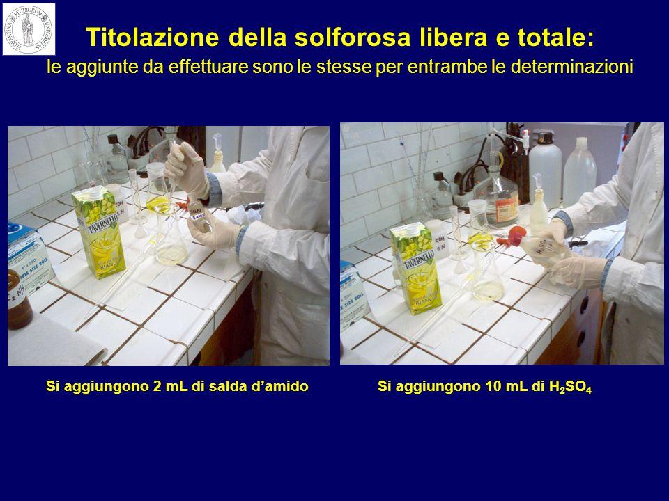 Si aggiungono 2 mL di salda damidoSi aggiungono 10 mL di H 2 SO 4 Titolazione della solforosa libera e totale: le aggiunte da effettuare sono le stess