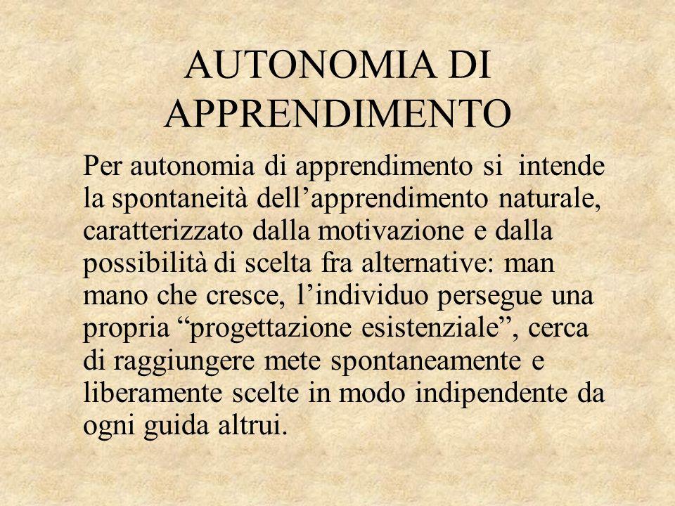AUTONOMIA DI APPRENDIMENTO Per autonomia di apprendimento si intende la spontaneità dellapprendimento naturale, caratterizzato dalla motivazione e dal