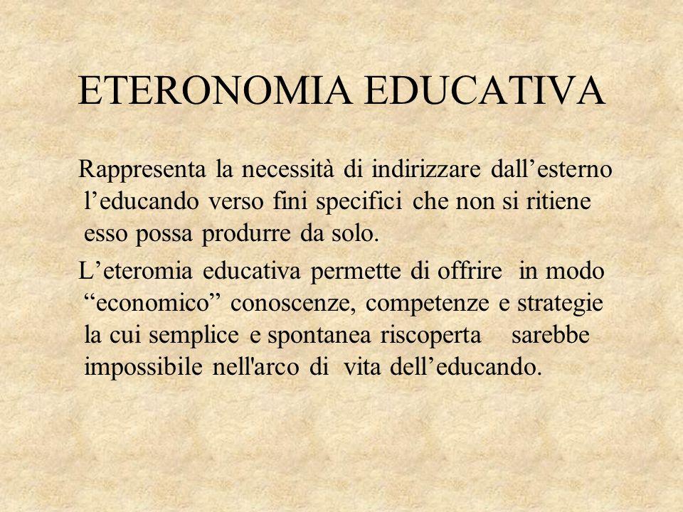 ETERONOMIA EDUCATIVA Rappresenta la necessità di indirizzare dallesterno leducando verso fini specifici che non si ritiene esso possa produrre da solo