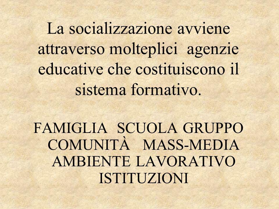 La socializzazione avviene attraverso molteplici agenzie educative che costituiscono il sistema formativo. FAMIGLIA SCUOLA GRUPPO COMUNITÀ MASS-MEDIA