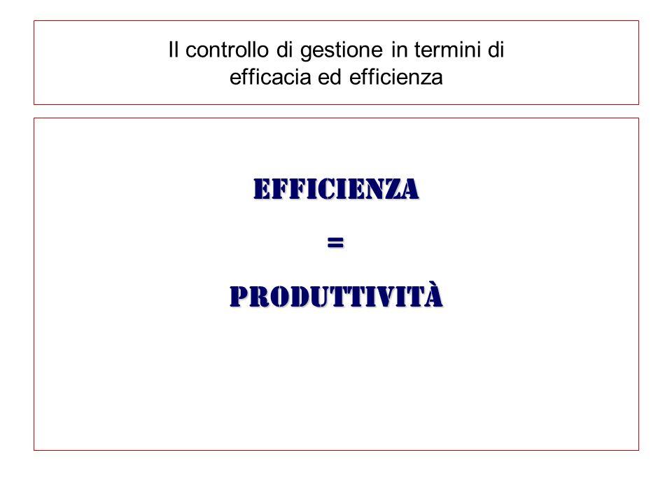 Il controllo di gestione in termini di efficacia ed efficienza Efficienza=produttività