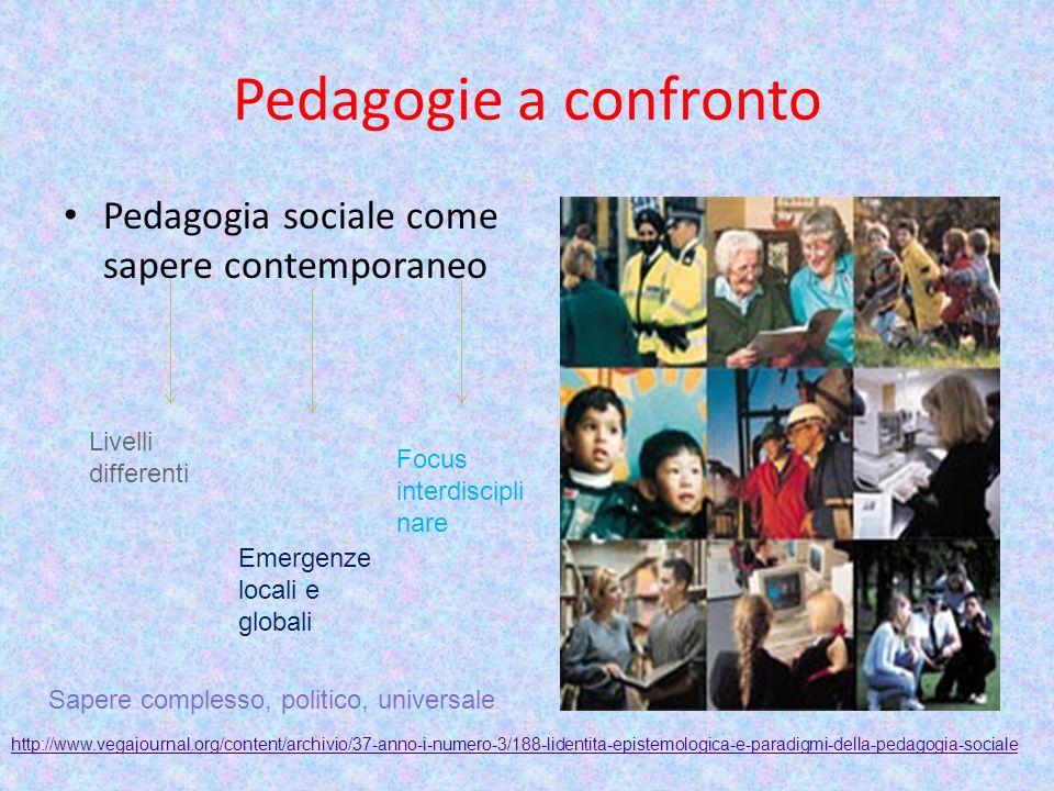 Pedagogie a confronto Pedagogia sociale come sapere contemporaneo Livelli differenti Emergenze locali e globali Focus interdiscipli nare Sapere comple