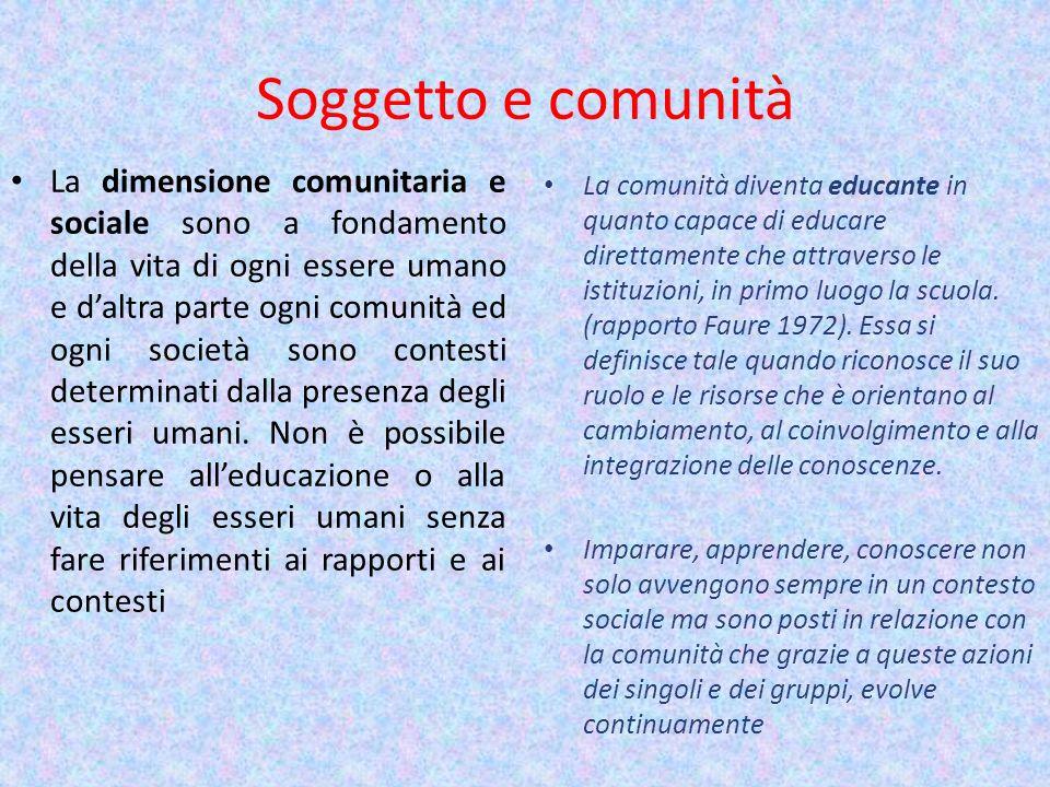 Soggetto e comunità La dimensione comunitaria e sociale sono a fondamento della vita di ogni essere umano e daltra parte ogni comunità ed ogni società
