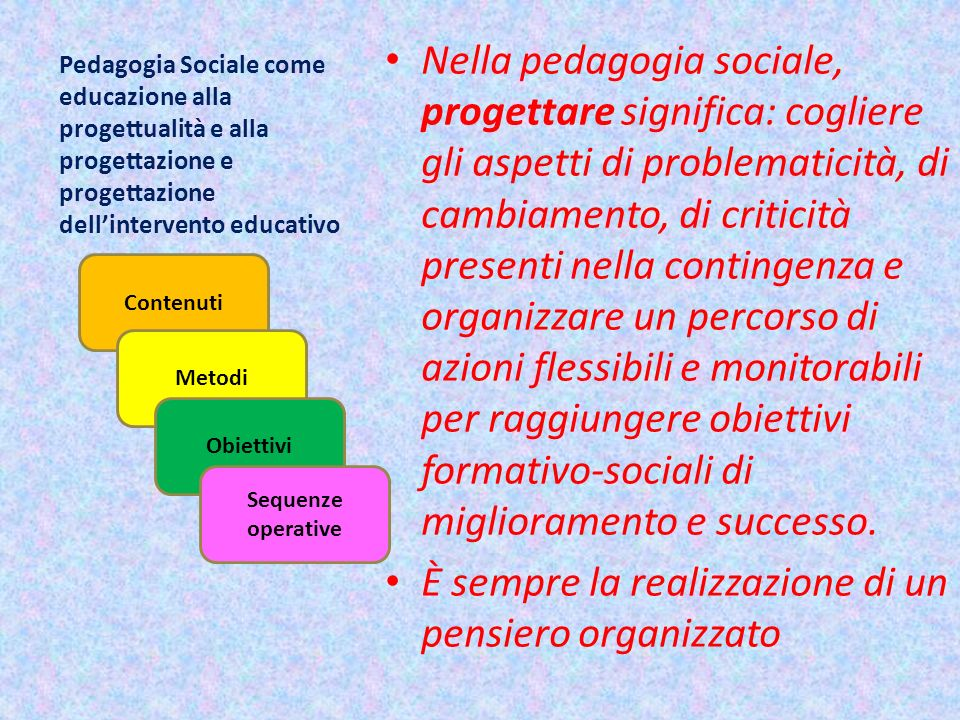 Pedagogia Sociale come educazione alla progettualità e alla progettazione e progettazione dellintervento educativo Nella pedagogia sociale, progettare