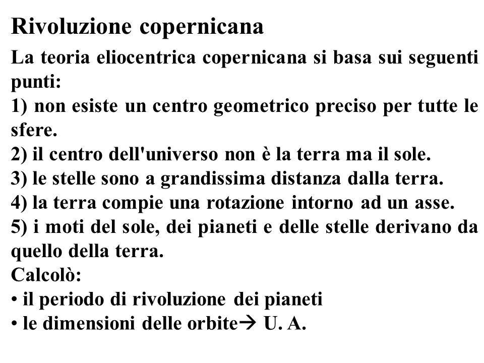 Rivoluzione copernicana La teoria eliocentrica copernicana si basa sui seguenti punti: 1) non esiste un centro geometrico preciso per tutte le sfere.