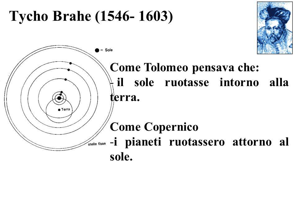 Tycho Brahe (1546- 1603) Come Tolomeo pensava che: - il sole ruotasse intorno alla terra. Come Copernico -i pianeti ruotassero attorno al sole.