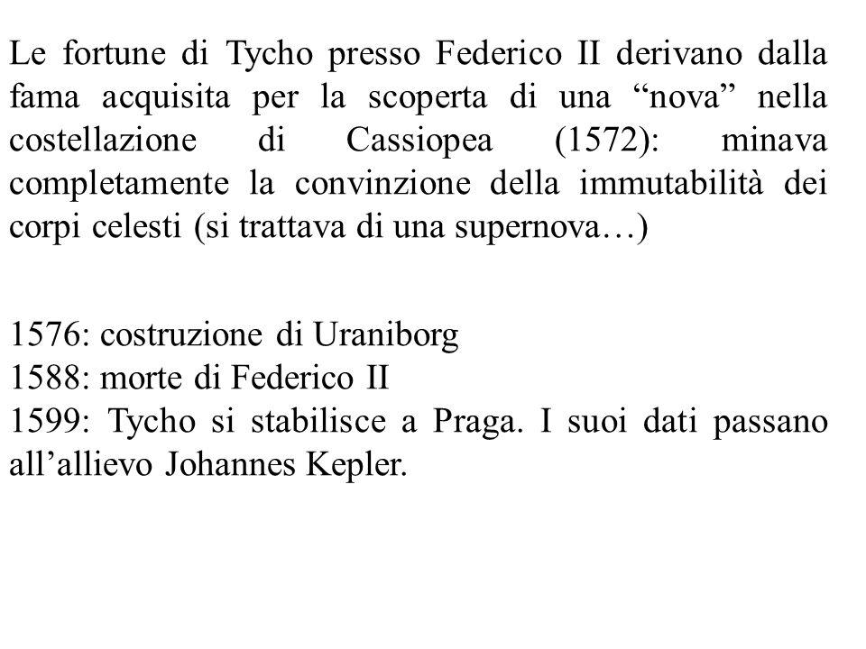 Le fortune di Tycho presso Federico II derivano dalla fama acquisita per la scoperta di una nova nella costellazione di Cassiopea (1572): minava completamente la convinzione della immutabilità dei corpi celesti (si trattava di una supernova…) 1576: costruzione di Uraniborg 1588: morte di Federico II 1599: Tycho si stabilisce a Praga.