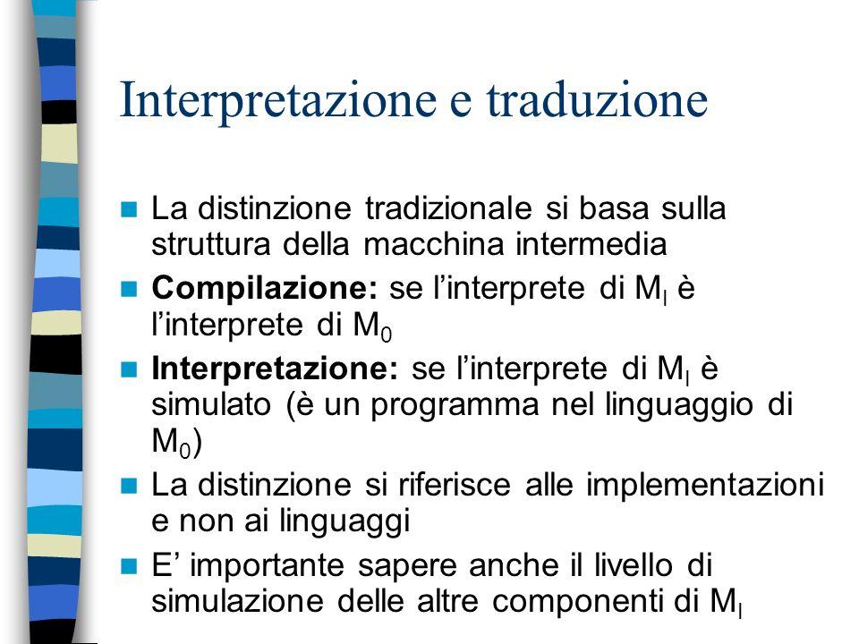 Interpretazione e traduzione Non esistono implementazioni puramente compilative Non esistono implementazioni puramente interpretative –Cè sempre almen
