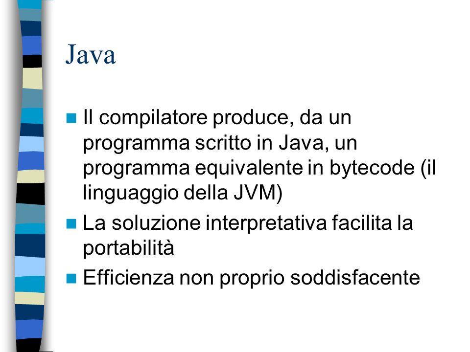 Java Implementazione interpretativa La macchina intermedia è una macchina a pila che esegue istruzioni tipo assembly (ma che sa gestire la gerarchia d