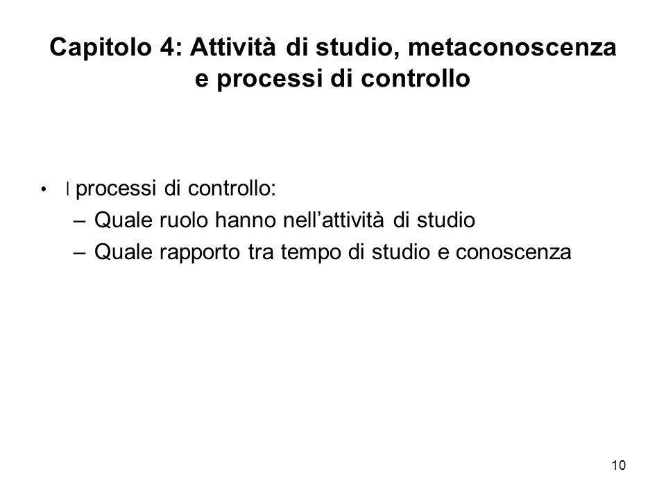 10 Capitolo 4: Attività di studio, metaconoscenza e processi di controllo I processi di controllo: –Quale ruolo hanno nellattività di studio –Quale ra