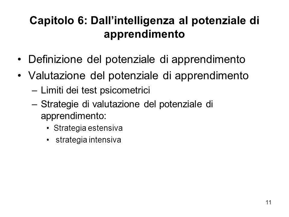 11 Capitolo 6: Dallintelligenza al potenziale di apprendimento Definizione del potenziale di apprendimento Valutazione del potenziale di apprendimento