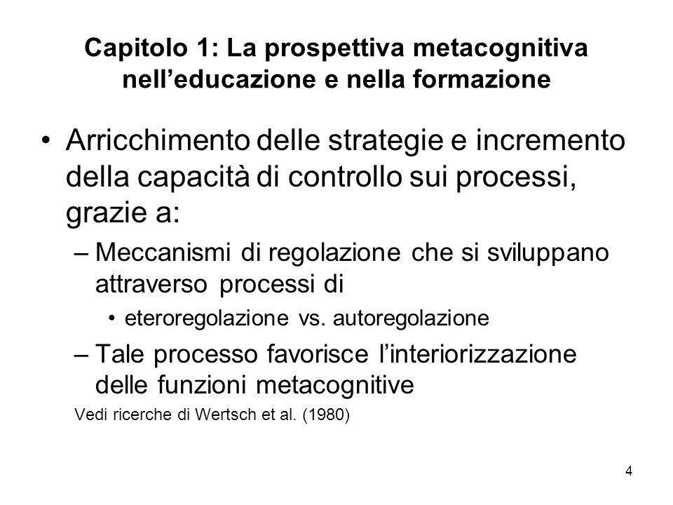 4 Capitolo 1: La prospettiva metacognitiva nelleducazione e nella formazione Arricchimento delle strategie e incremento della capacità di controllo su