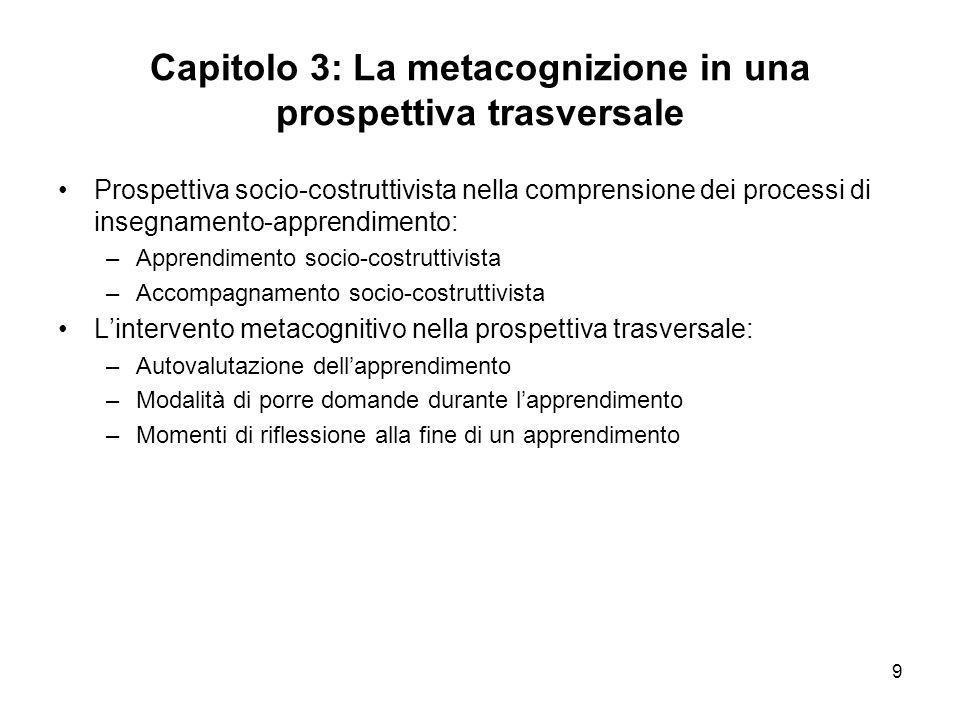 9 Capitolo 3: La metacognizione in una prospettiva trasversale Prospettiva socio-costruttivista nella comprensione dei processi di insegnamento-appren