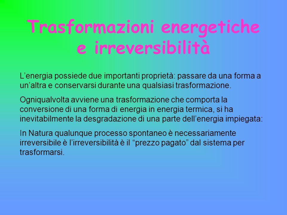 Trasformazioni energetiche e irreversibilità Lenergia possiede due importanti proprietà: passare da una forma a unaltra e conservarsi durante una qual