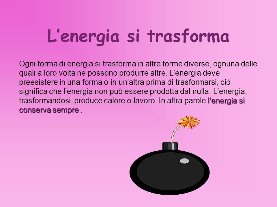Lenergia si trasforma lenergia si conserva sempre. Ogni forma di energia si trasforma in altre forme diverse, ognuna delle quali a loro volta ne posso