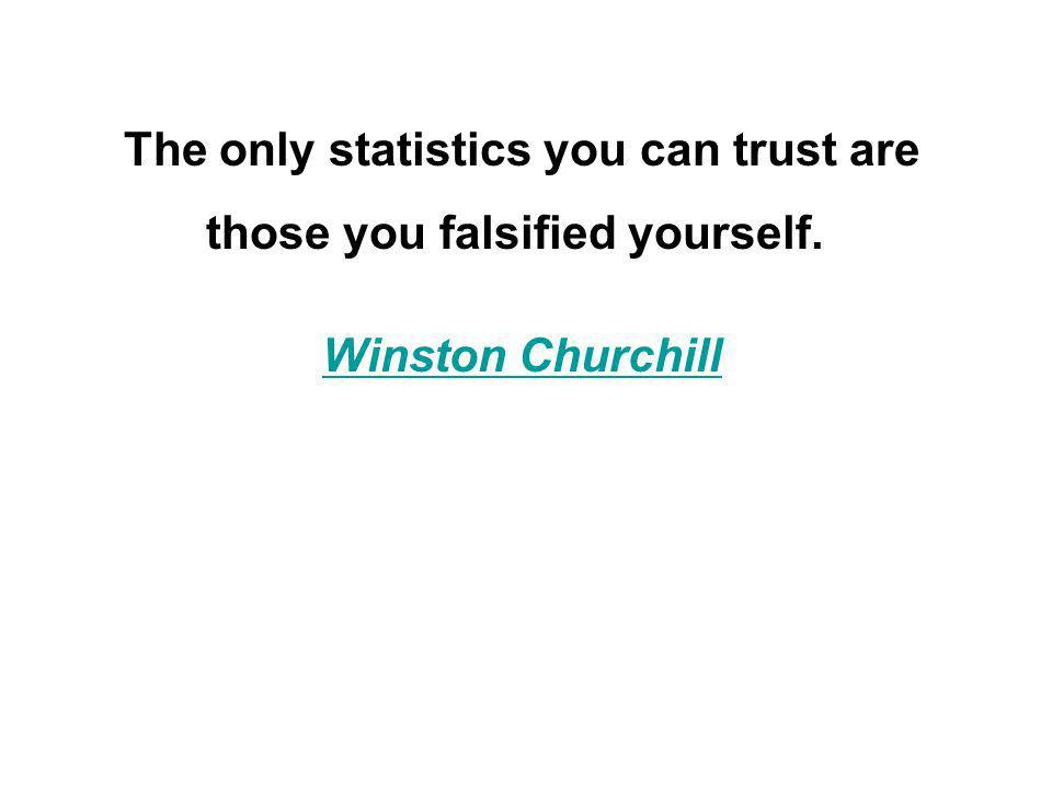 The only statistics you can trust are those you falsified yourself. Winston Churchill