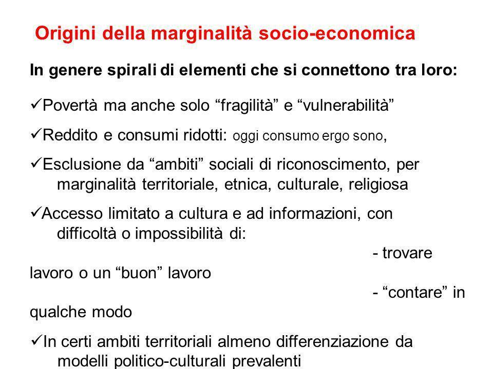 Origini della marginalità socio-economica In genere spirali di elementi che si connettono tra loro: Povertà ma anche solo fragilità e vulnerabilità Re