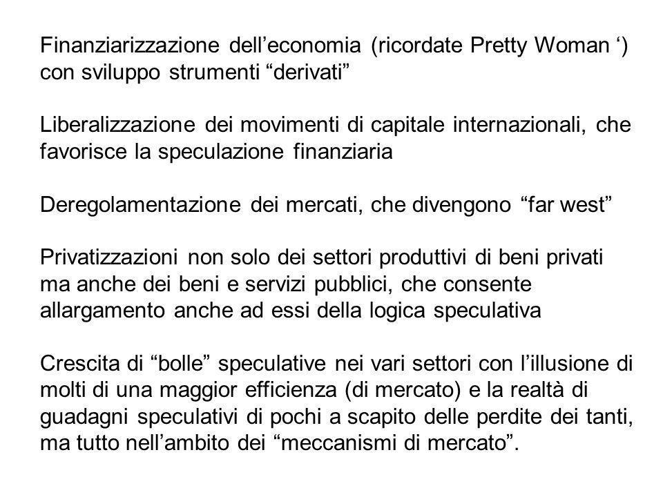 Finanziarizzazione delleconomia (ricordate Pretty Woman ) con sviluppo strumenti derivati Liberalizzazione dei movimenti di capitale internazionali, c