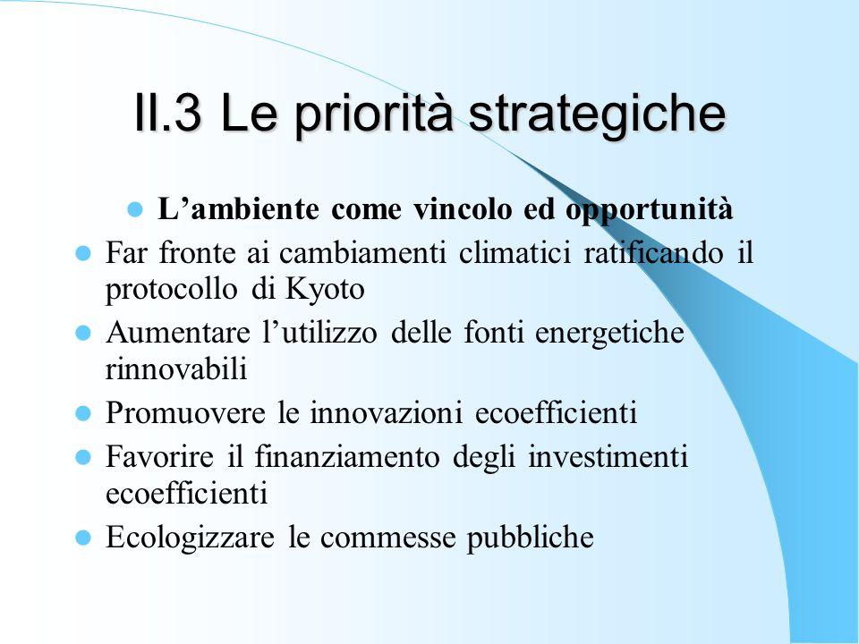 II.3 Le priorità strategiche Lambiente come vincolo ed opportunità Far fronte ai cambiamenti climatici ratificando il protocollo di Kyoto Aumentare lu