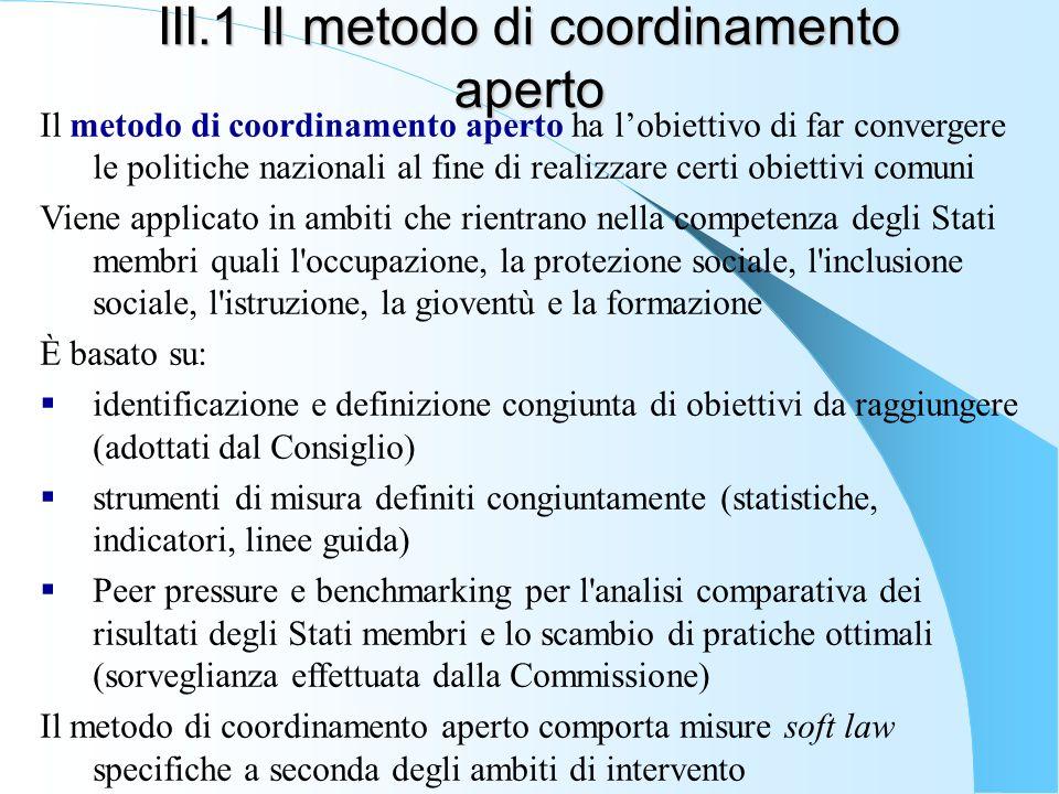 III.1 Il metodo di coordinamento aperto Il metodo di coordinamento aperto ha lobiettivo di far convergere le politiche nazionali al fine di realizzare