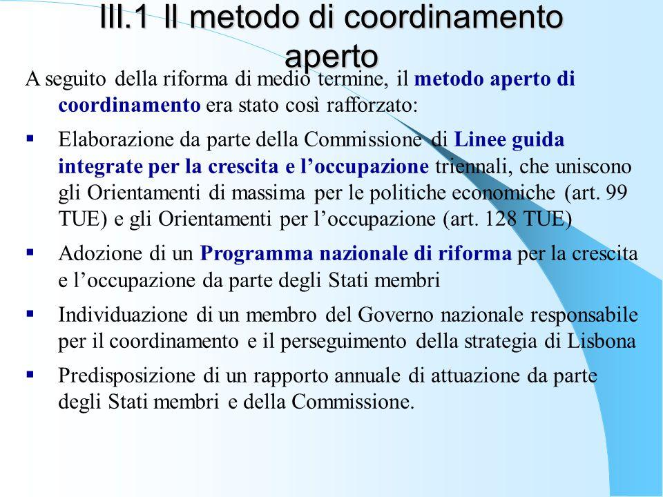 III.1 Il metodo di coordinamento aperto A seguito della riforma di medio termine, il metodo aperto di coordinamento era stato così rafforzato: Elabora