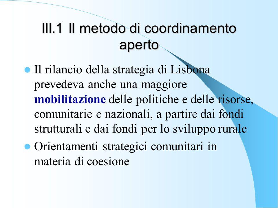 III.1 Il metodo di coordinamento aperto Il rilancio della strategia di Lisbona prevedeva anche una maggiore mobilitazione delle politiche e delle riso