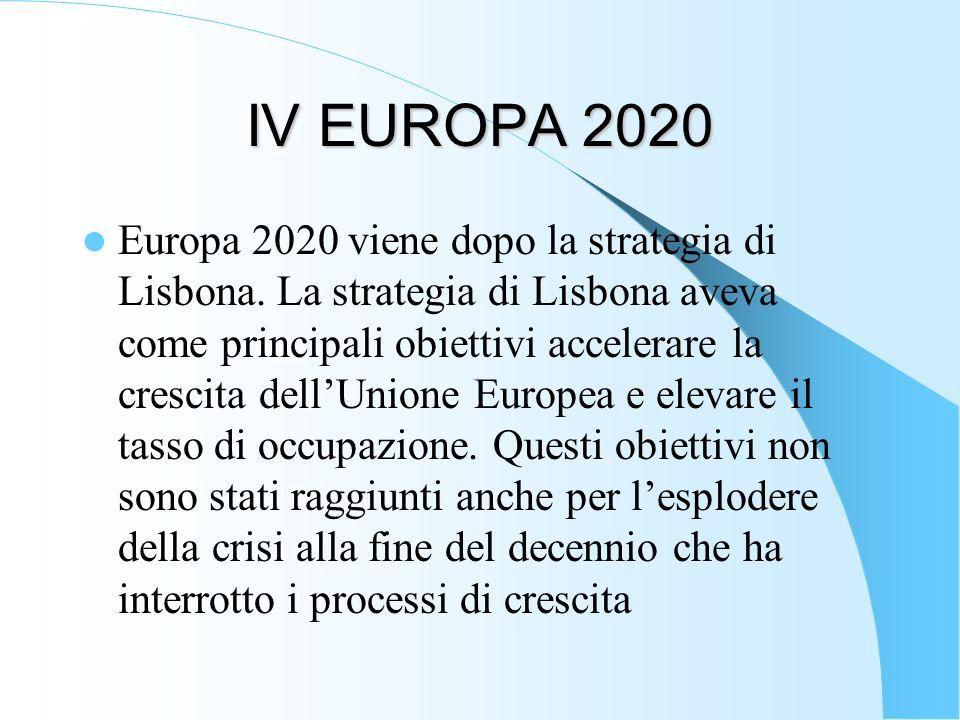 IV EUROPA 2020 Europa 2020 viene dopo la strategia di Lisbona. La strategia di Lisbona aveva come principali obiettivi accelerare la crescita dellUnio