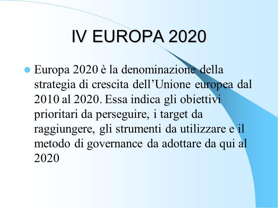 IV EUROPA 2020 Europa 2020 è la denominazione della strategia di crescita dellUnione europea dal 2010 al 2020. Essa indica gli obiettivi prioritari da
