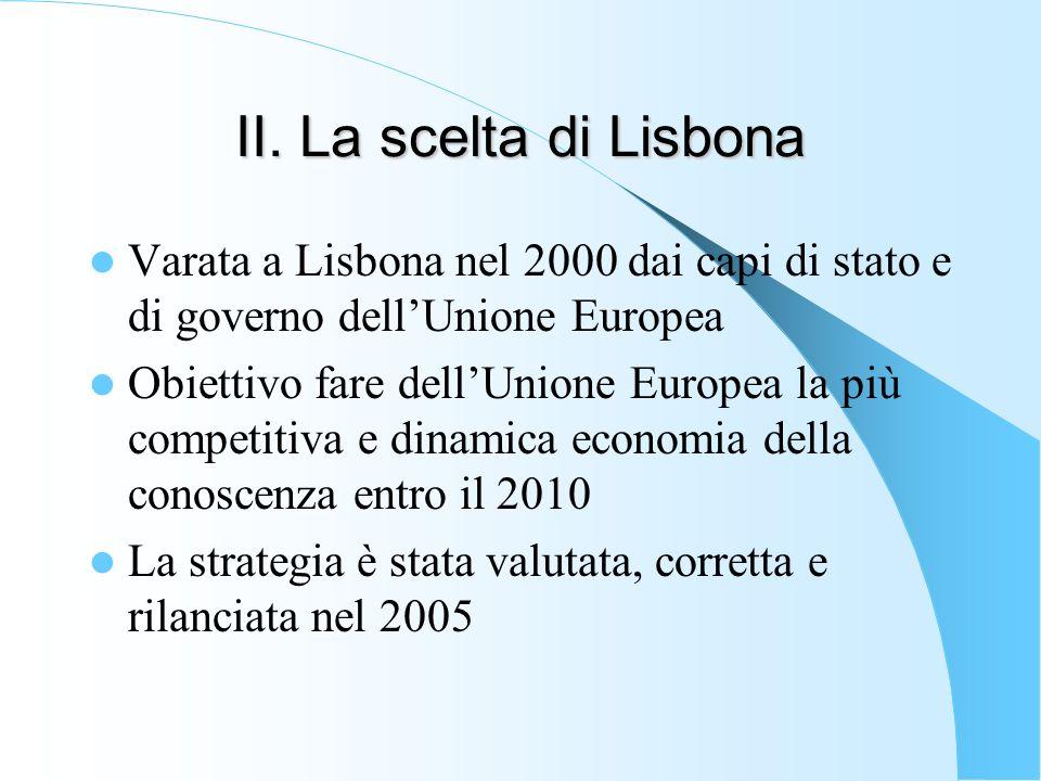 II.3 Le priorità strategiche Approfondire il mercato comune Garantire leffettivo recepimento delle direttive comunitarie in materia di mercato unico Liberalizzare il mercato dei servizi Eliminare gli ostacoli residui alla circolazione delle merci Garantire la piena mobilità dei capitali finanziari e lintegrazione dei servizi finanziari Riforma del diritto societario (per ridurre i costi di operare su scala europea) Migliorare laccessibilità intervenendo sui sistemi di trasporto e su internet (banda larga)